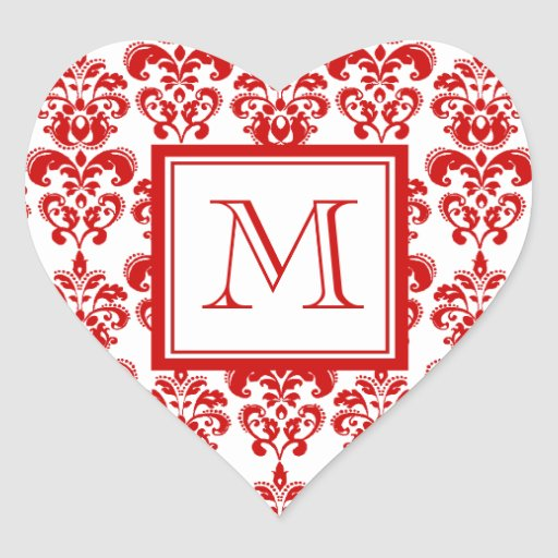 GIRLY RED DAMASK PATTERN 2 YOUR INITIAL STICKERS