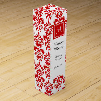 GIRLY RED DAMASK PATTERN 2 YOUR INITIAL WINE BOTTLE BOXES