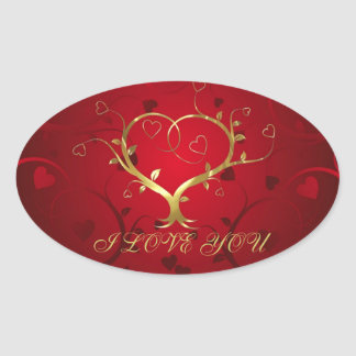 Girly Red & Gold Abstract Heart And Floral Swirls Oval Sticker