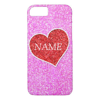 GIRLY rED HEART PINK GLITTER PRINTED iPhone 7 Case