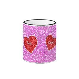 GIRLY rED HEART PINK GLITTER Ringer Mug