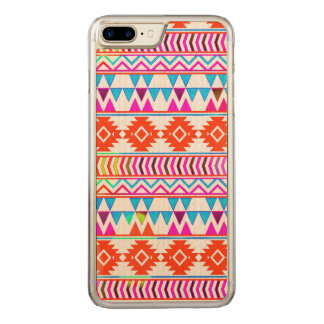 Girly Red Hot Pink and Blue Aztec Tribal Stripes Carved iPhone 8 Plus/7 Plus Case