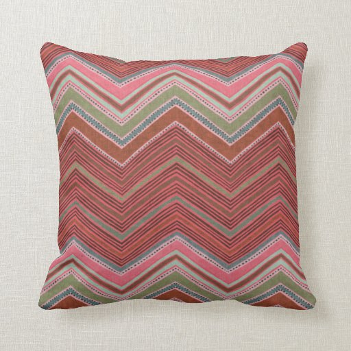 Girly Red Pink Zigzag Pattern Pillows