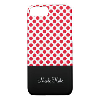 Girly Red Polka Dots Monogram iPhone 8/7 Case