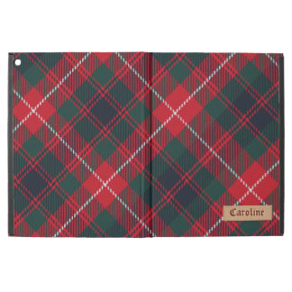 "Girly Red Royal Stewart Tartan Pattern Custom Name iPad Pro 12.9"" Case"