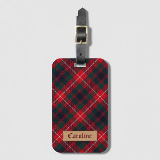 Girly Red Stewart Tartan with Stitched Name Label Luggage Tag