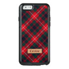 Girly Red Stewart Tartan with Stitched Name Label OtterBox iPhone 6/6s Case