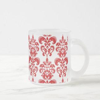 Girly Red White Vintage Damask Pattern 2 Mugs