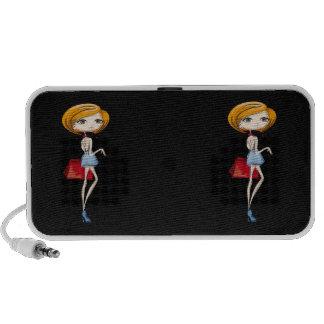 Girly Retro Girl Laptop Speaker