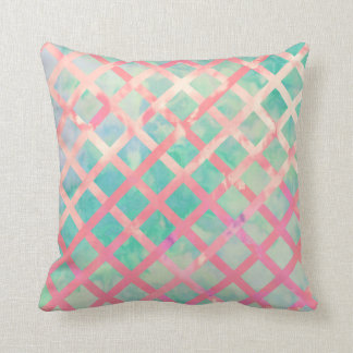 Girly Retro Turquoise Pink Watercolor Lattice Throw Pillow