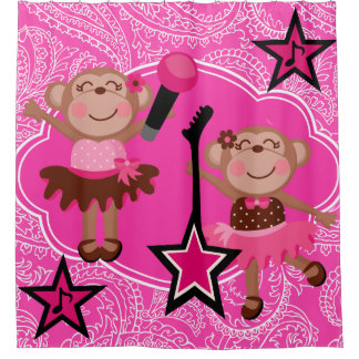 Girly Rock Star Monkeys Shower Curtain