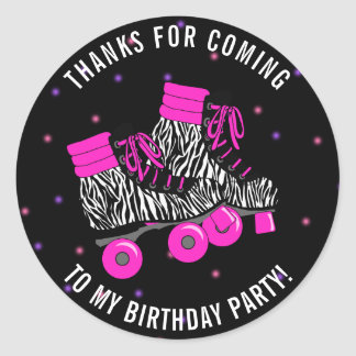 Girly Roller Skate Birthday Thank You Classic Round Sticker
