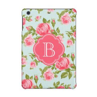 Girly Romantic Floral Vintage Roses Monogram iPad Mini Retina Cover