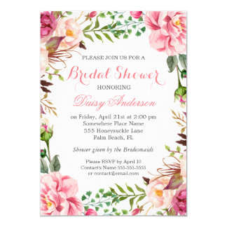 Girly Romantic Floral Wrap Wedding Bridal Shower 13 Cm X 18 Cm Invitation Card
