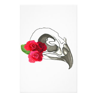 GIRLY ROMANTIC RED ROSES WITH BIRD SKULL STATIONERY