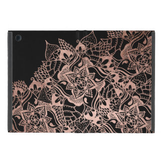 Girly  rose gold boho hand drawn mandala cover for iPad mini