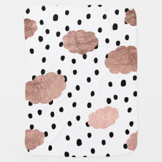 Girly rose gold clouds black rain polka dots pram blankets