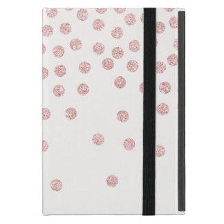 girly rose gold glitter confetti polka dots iPad mini cover