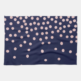 girly rose gold glitter confetti polka dots kitchen towel