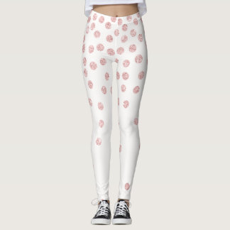 girly rose gold glitter confetti polka dots leggings