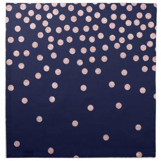 girly rose gold glitter confetti polka dots napkin
