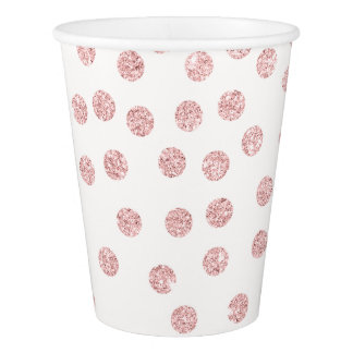 girly rose gold glitter confetti polka dots paper cup