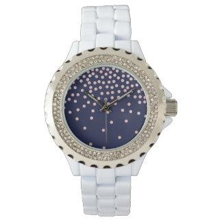 girly rose gold glitter confetti polka dots watch