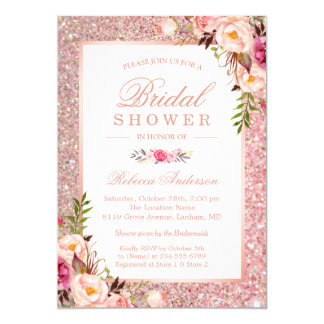 Girly Rose Gold Glitter Pink Floral Bridal Shower Card