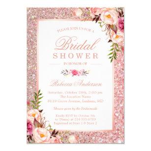 Bridal shower invitations zazzle girly rose gold glitter pink floral bridal shower invitation filmwisefo