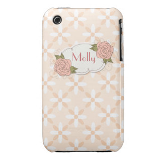 Girly Rose Personalized iPhone 3gs Case