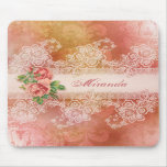 Girly Roses and Lace Personalised Mousepad