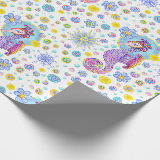 Girly Seahorse sea theme wrapping paper