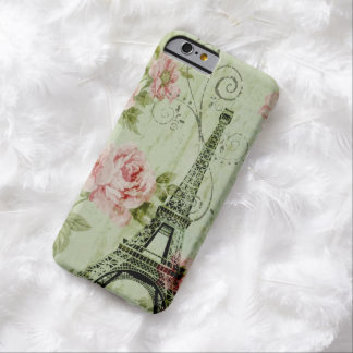 girly shabby chic eiffel tower vintage floral barely there iPhone 6 case