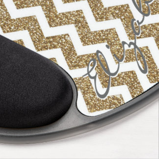 Girly shining Gold Faux glitter effects zigzag Gel Mouse Pad