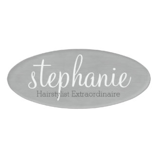 Girly Silver Foil Print - Cute Script and Title Name Tag