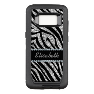 GIRLY SILVER ZEBRA glitter print Diamond monogram OtterBox Defender Samsung Galaxy S8 Case