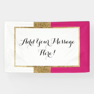 Girly Simple Gold Pink and White Color Blocks Banner