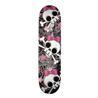 Girly Skull and Crossbones Skate Board