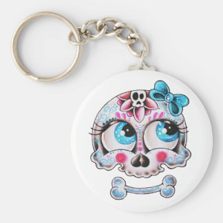Girly skull basic round button key ring
