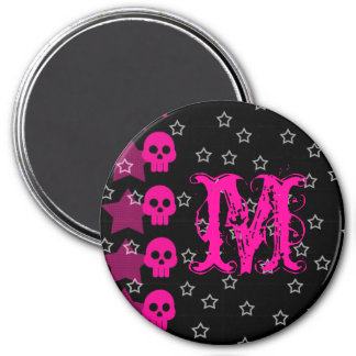 Girly Skull EMO Punk Rock Monogram Initial Magnet