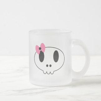 Girly Skull Frosted Glass Coffee Mug