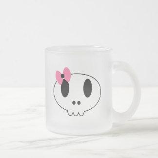 Girly Skull Frosted Glass Mug