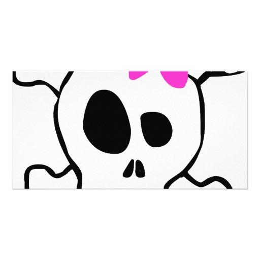 Girly skull photo greeting card