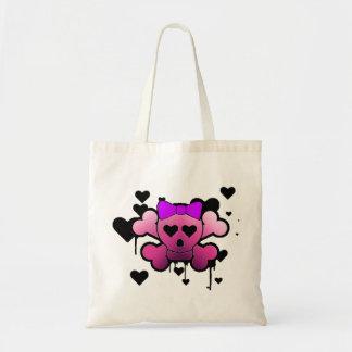 girly skull budget tote bag