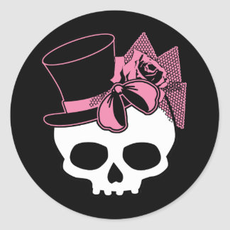 Girly Skull with Hat and Pink Bow Round Sticker