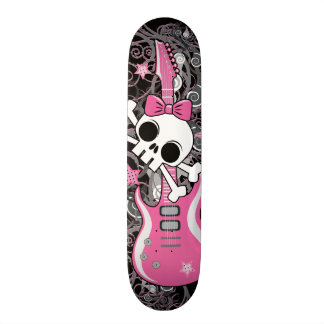 Girly Skull with Pink Guitar 19.7 Cm Skateboard Deck