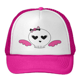 Girly Skull With Wings Trucker Hat