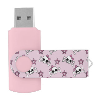 Girly Skulls with Stars Swivel USB 3.0 Flash Drive