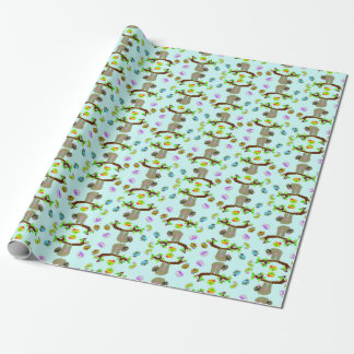 """Girly Sloth (Blue) Matte Wrapping Paper, 30"""" x 6' Wrapping Paper"""