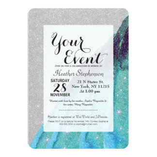 Girly Sparkly Teal Blue and Black Faux Glitter Card